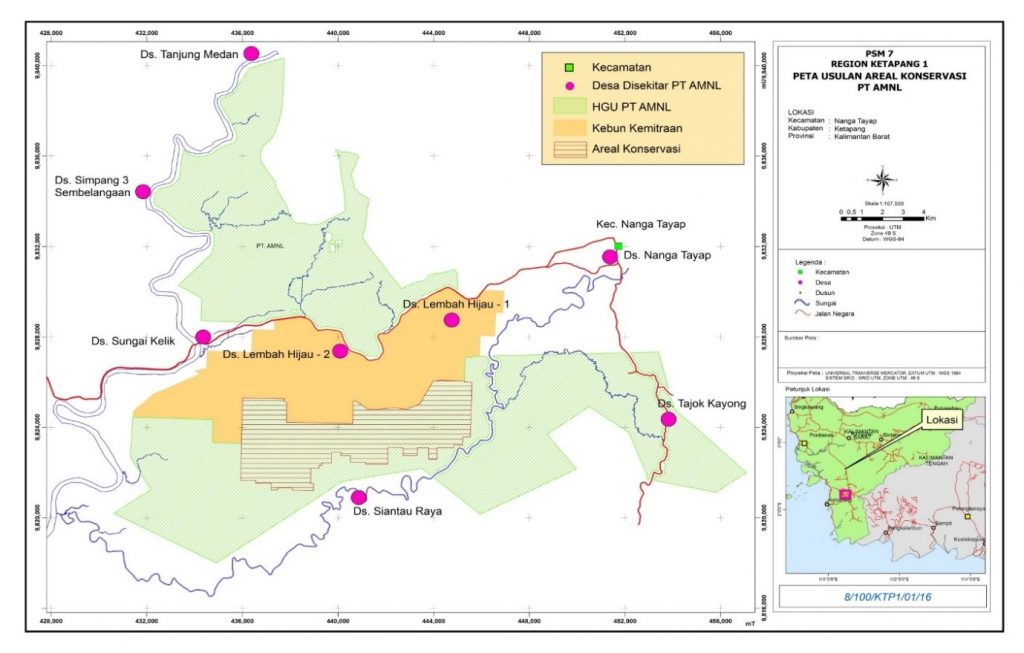 Map of Peat Eco-system Rehabilitation Project Area in PT AMNL (2,616.17 hectares)